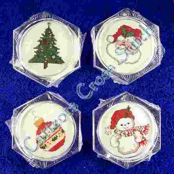 Traditional Set of 4 Coasters with Santa, tree, snowman & ornament
