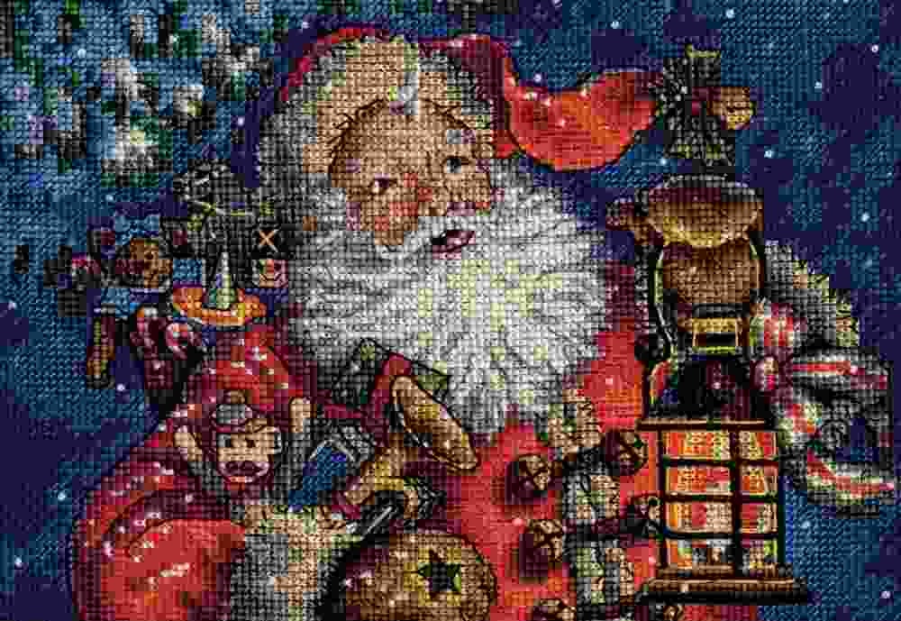 Dimensions Petite Gold Nighttime Santa
